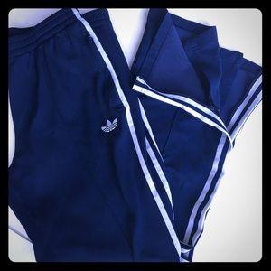 Adidas Running warm up pants Navy / white stripe